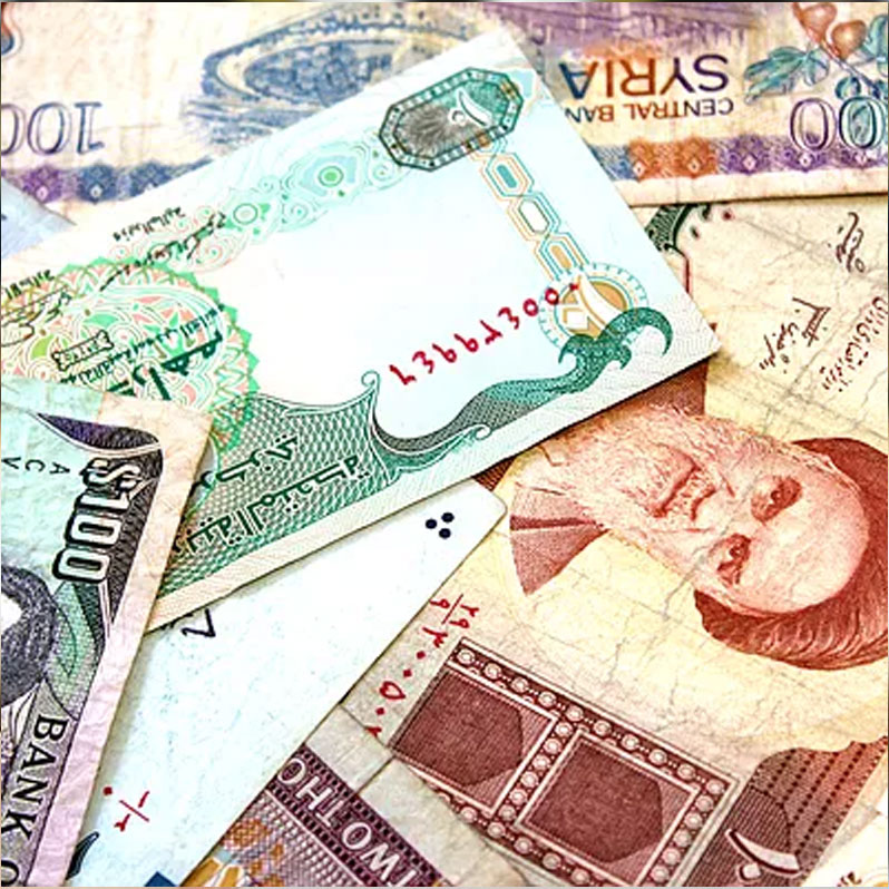 close up image of various paper currencies