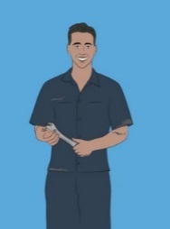 Illustration of man holding a wrench