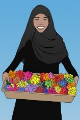 Illustration of woman holding basket of flowers