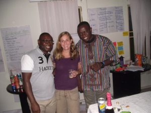 """Sr. Tech. Advisor Hillary Proctor with Agropedia Africa owners Theophilus """"Theo"""" Agada and Bassey Archibong."""
